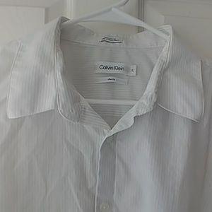 Calvin Klein white pinstripe button-up